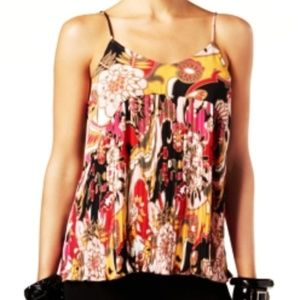 INC Micro Pleated Tank Top Floral Cami Large